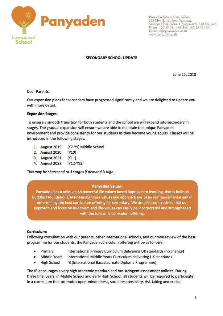 Panyaden Secondary School Expansion Update Jun 2018 ENGLISH