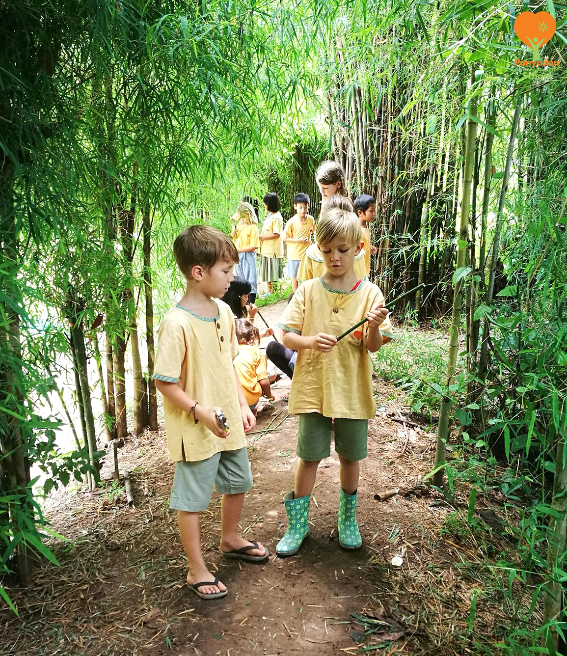 Panyaden Y3 students in the bamboo forest