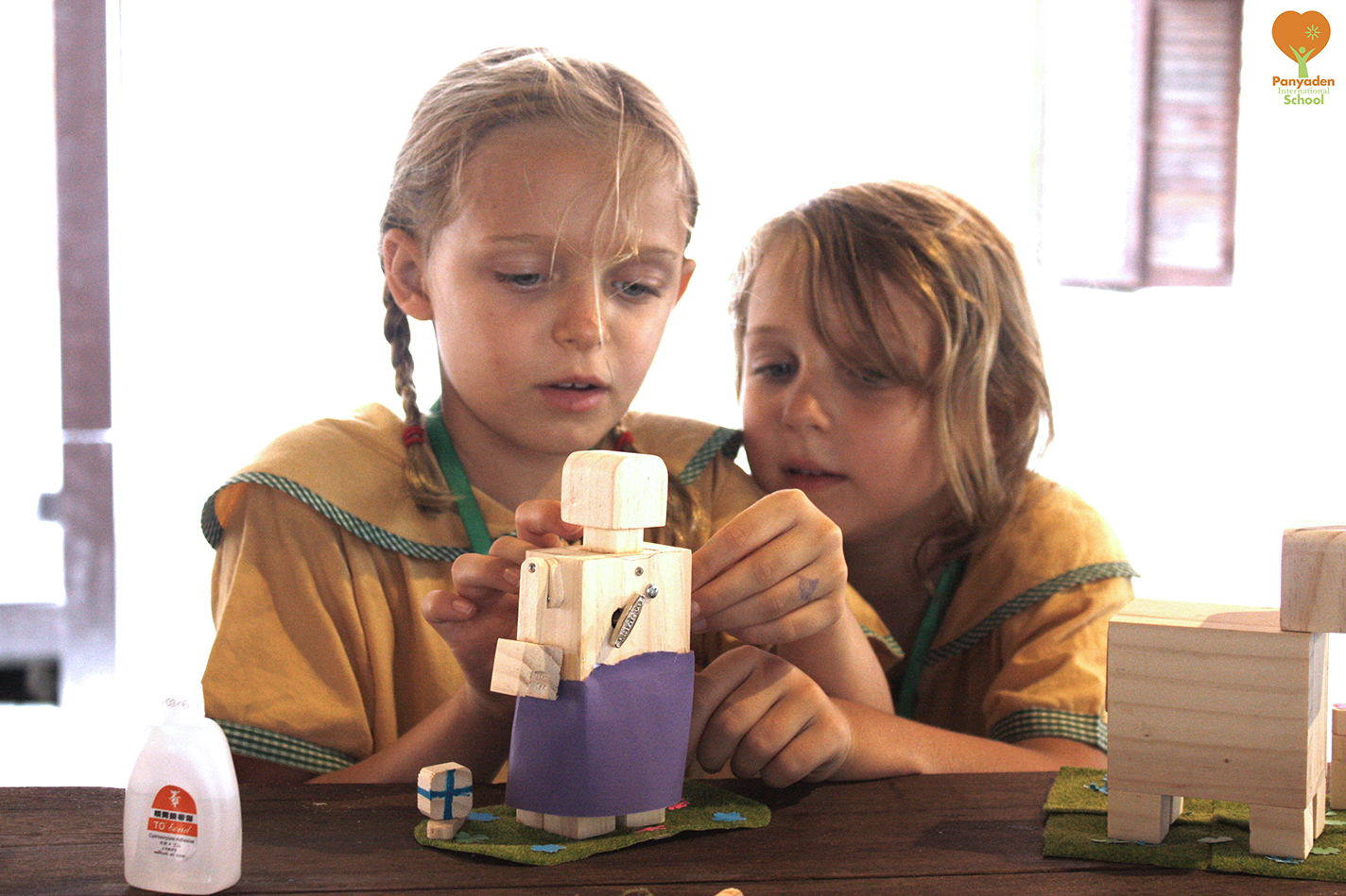 Panyaden Year 3 (Y3) music box workshop - 2 students working on their creation